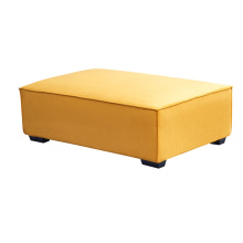 Modern Living Room Yellow Ottoman Velvet Upholstered Pouf Sofa Footstool