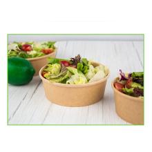 Tasse de papier à double paroi Kraft de qualité alimentaire jetable pour soupe bol à soupe Kraft bol à salade en papier Kraft