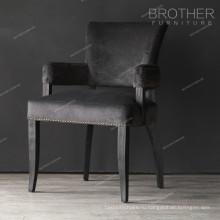 Черный античный деревянный ткань подушки стул с подлокотниками для столовой