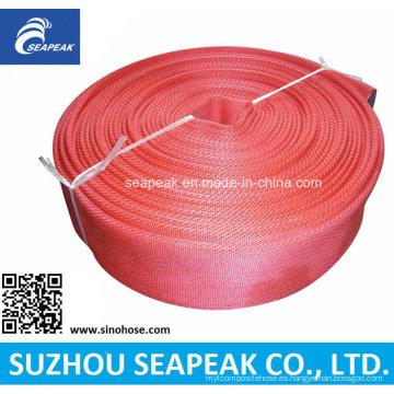 Manguera de incendio con chaqueta roja