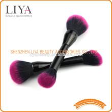 Schwarzer Griff beidseitig synthetische Gesicht Make-up Pinsel für Kosmetik Schönheit