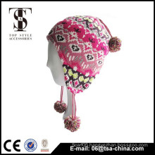 2014 fashion earflap knit wool capes