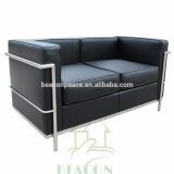 Mid Centry Modern furniture Black leather LC2 sofa in 2 seaters
