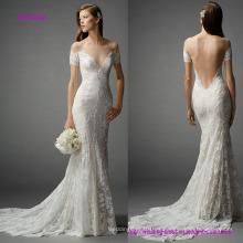 Vestido de novia de sirena sin espalda con hombros descubiertos