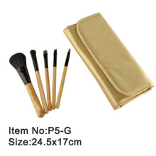 5pcs golden plastic handle animal/nylon hair makeup brush tool set with golden satin fold case