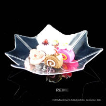 Tableware Plastic Disk Disposable Saucer Maple Leaf Shaped Dish