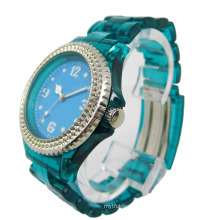 Transparent Band Crystal Bezel Colorful Watch