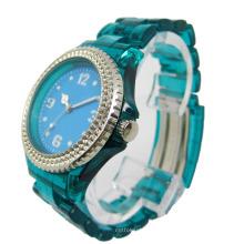 Banda Transparente Cristal Bezel Relógio Colorido