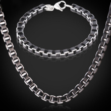 Stainless Steel Jewelry Sets For Men Jewelry Fashion High Quality Black Cool Box Link Chain Necklace Set Bracelet Men
