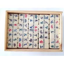 Jogo de blocos de dominó personalizado em caixa de madeira