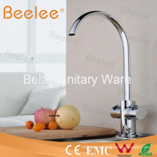Contemporary Double Lever Kitchen Sink Mixer Tap with C Spout