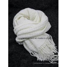 Echarpe tricoté à la trame blanche à 100% en acrylique à la fourrure