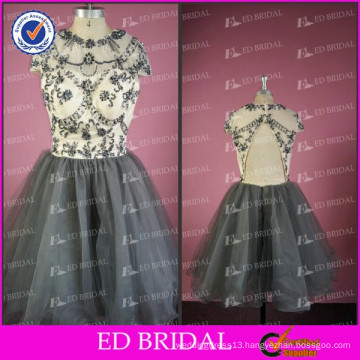 ED Bridal Sparkle A-line Short Style Cap Sleeve Backless Tulle Evening Gown 2017