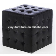 Black leather cube ottoman XY0311
