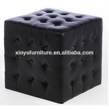 Black leather cube ottoman XY0311