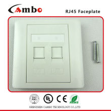 China Manufacturer Network Faceplate White Color 86 X 86mm 2 Port RJ45 Faceplate
