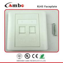 Placa frontal da rede Fabricante China Placa frontal de cor branca 86 X 86mm 2 RJ45