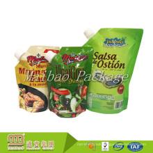 Custom Made Logo Design Leakproof Aluminum Foil Food Packaging Spout Packing Bag For Sauce