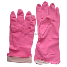 NMSAFETY spray flockline pink powder free kitchen rubber gloves