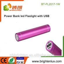 Cheapest Wholesale Aluminum Metal 1*18650 battery Promotional best mini USB Charging power bank with flashlight