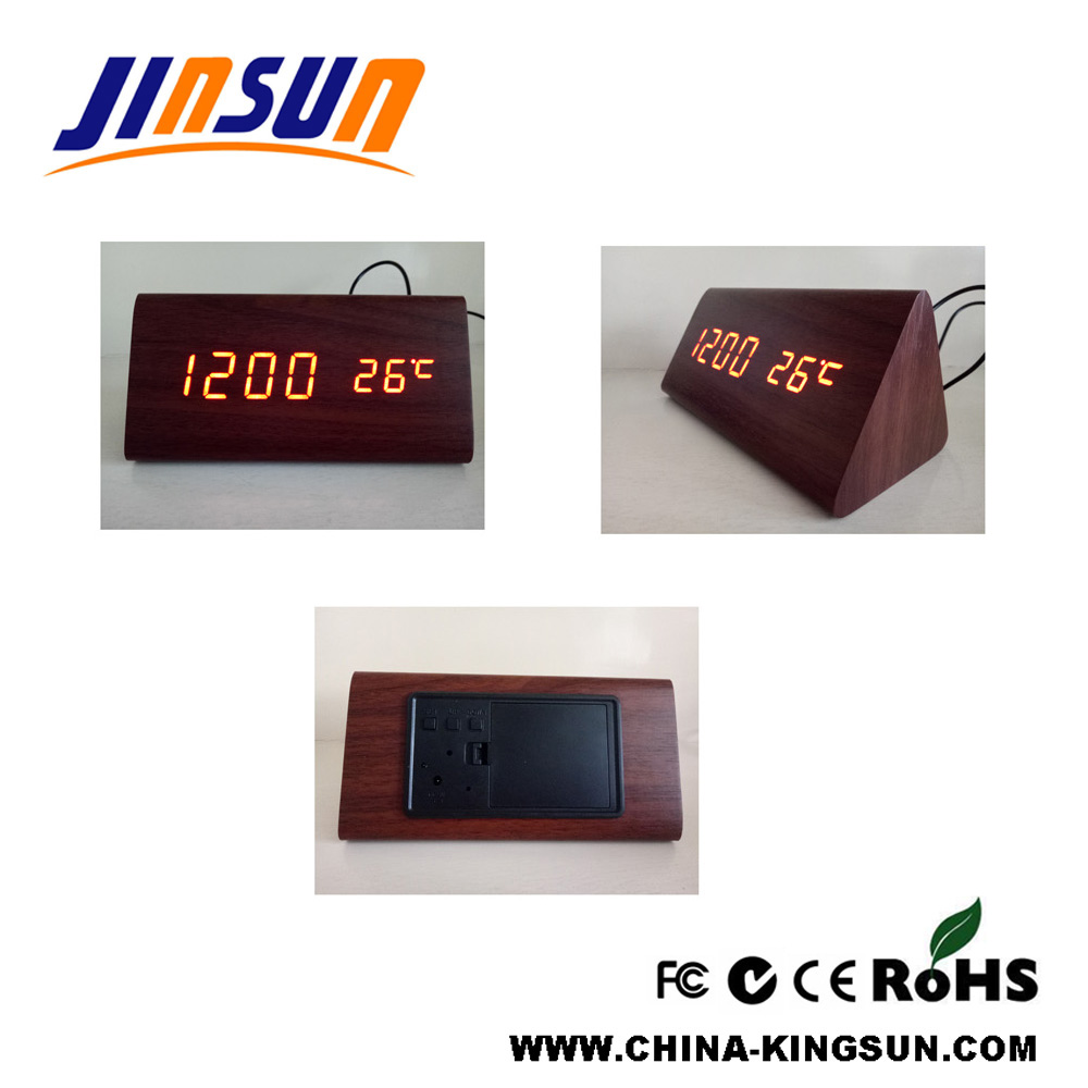 Triangle Led Clock With Temperature 8