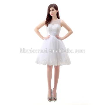 Verão sem mangas Chiffon frisado curto elegante Cocktail branco vestido de noite