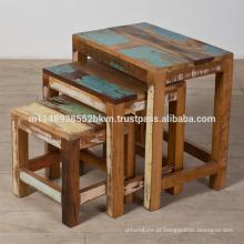 Antique Reclaimed Wood Conjunto de 3 mesas de assentamento