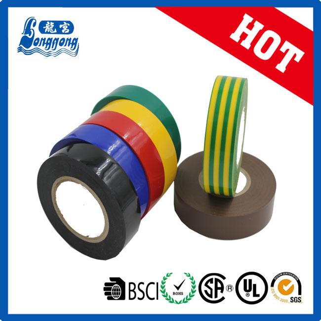 Noir haute qualité électrique pvc isolation ruban 19mm x 20m retardateur de flamme
