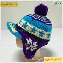 Winter Fashion Jacquard Knitted Kids Earflap Hat