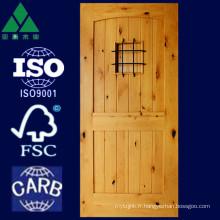 Porte en bois massif à 2 panneaux à voûte et à aulne carré