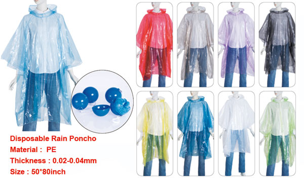 Disposable Adult PE Rain Ponchos with ball