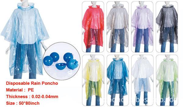 purple Disposable Adult PE Rain Ponchos