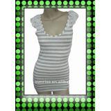Ladies rayon knitted yarn dyed stripe sleeveless t shirt