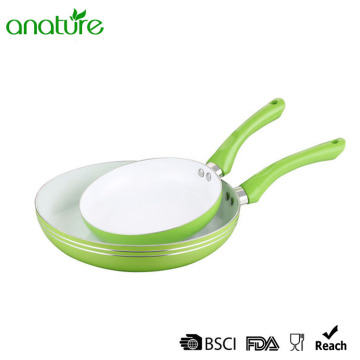 Sprial Pressed Green Aluminum Ceramic Interior Fry Pan
