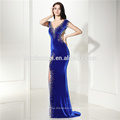 Elegant Velvet Long High-rise Waist Cut-out Sapphire Blue Backless Ladies Party Evening Dress Women