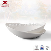 Cheap white ceramic unique shallow salad bowls oval bowl