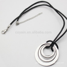 Unisex Silver Metal Three Ring Necklace With Black Leather Cord
