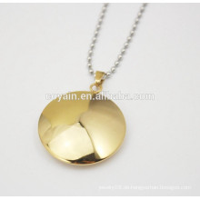 Edelstahl Schmuck glänzend Runde Gold Charme Halsketten für Frauen