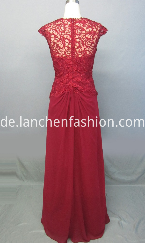Lace Ruched Bust Evening Dress