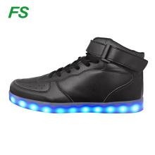 2017 led lights skate shoes, high ankle skateboard shoes, led skate shoes for men