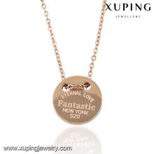 Moda elegante amostra rosa cor de ouro colar de pingente de jóias com palavras-gravado -00055