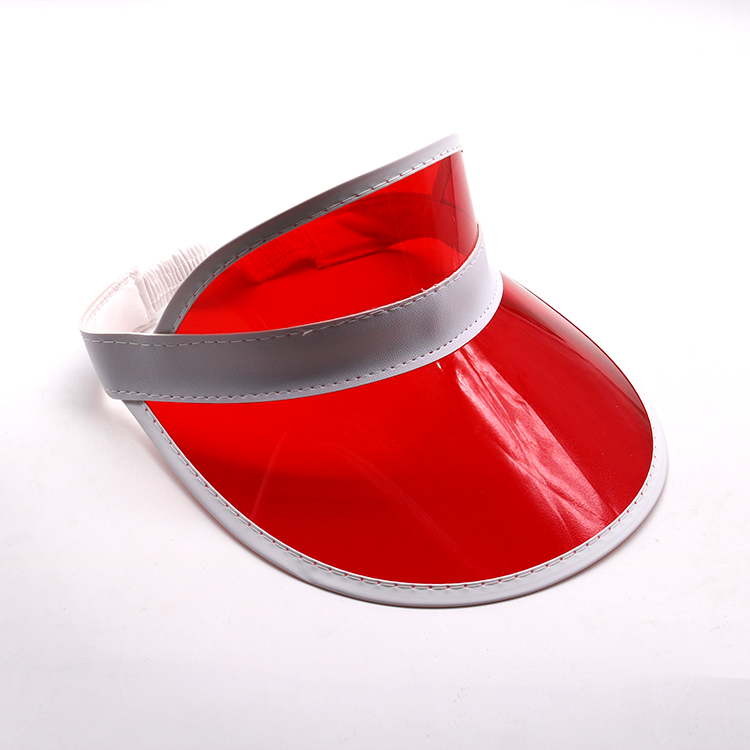 red transparent pvc visor cap