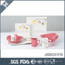 La vajilla de cerámica del gres de la flor fresca del precio competitivo de la venta caliente de la venta fijó