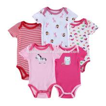 Precio bajo nueva ropa de bebé recién nacido del mono del algodón de manga corta de punto al por mayor de los cabritos del mameluco