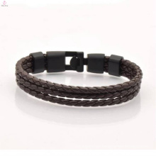 2017 Hot Selling Stainless Steel Leather Men Bracelet