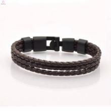 2017 hot venda de aço inoxidável pulseira de couro dos homens