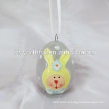 2016 nuevo producto handpainting conejito pascua colgante decoración, pascua colgando de artesanía