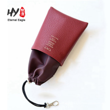 Stitching leather drawstring glasses bag