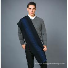 Écharpe 100% en laine pour hommes en écharpe en laine à laine de couleur unie
