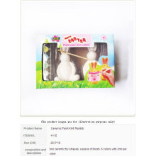 HAPPY EASTER RABBIT CERAMIC PAINT DIY 6 COLORS 2 ML PER COLOR WITH 2 CERAMIC RABBITS AND A BRUSH NON-TOXIC